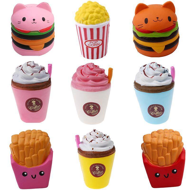 Kvvdi 2pcs Squishy Toys Children Slow Rising Antistrss Toy Cat Hamburger Fries Squishies Stress Relief Toy Funny Kids Gift Toy By Jucheng Store.