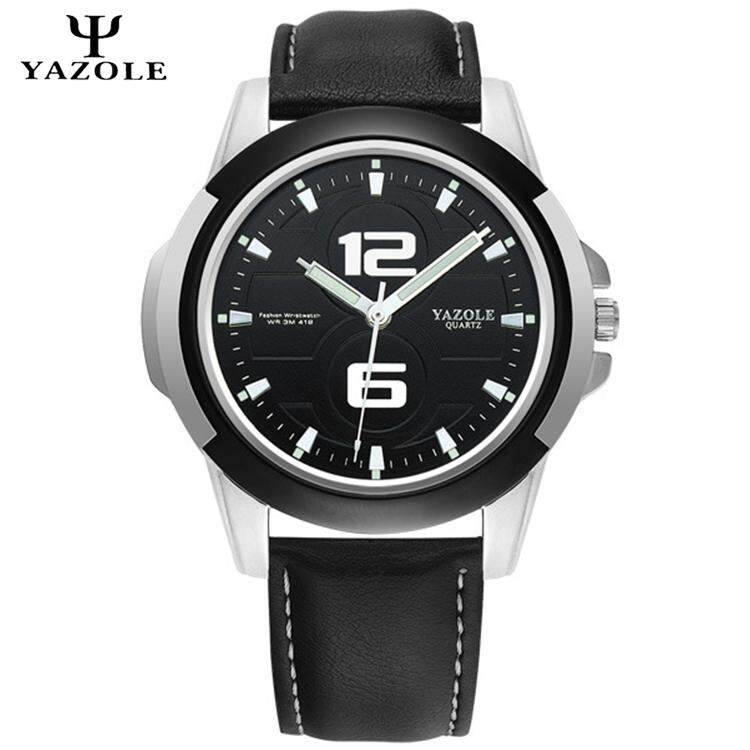 Original YAZOLE Luminous Grow in Dark Indicator Leather Strap Stainless Steel Business Military Quartz Mens Wrist Watch Full Black / Black White / Brown Black Malaysia