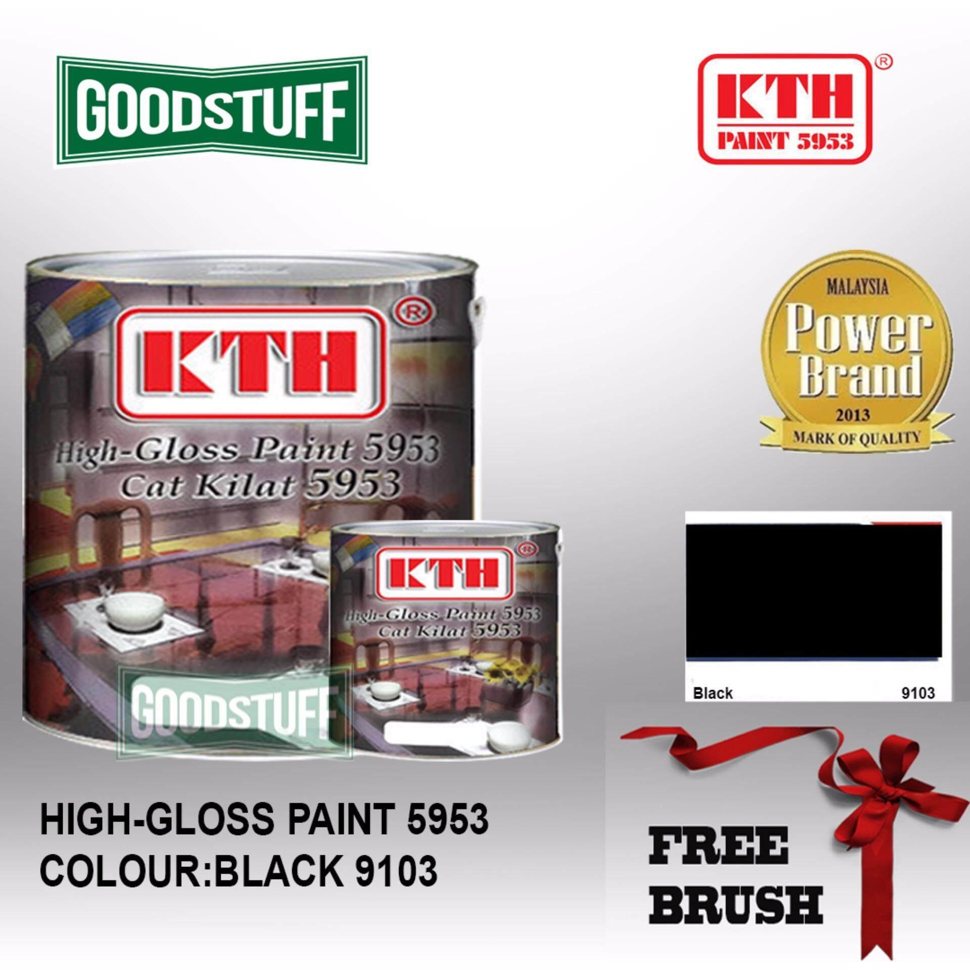 KTH HIGH GLOSS PAINT 1L BLACK-9103