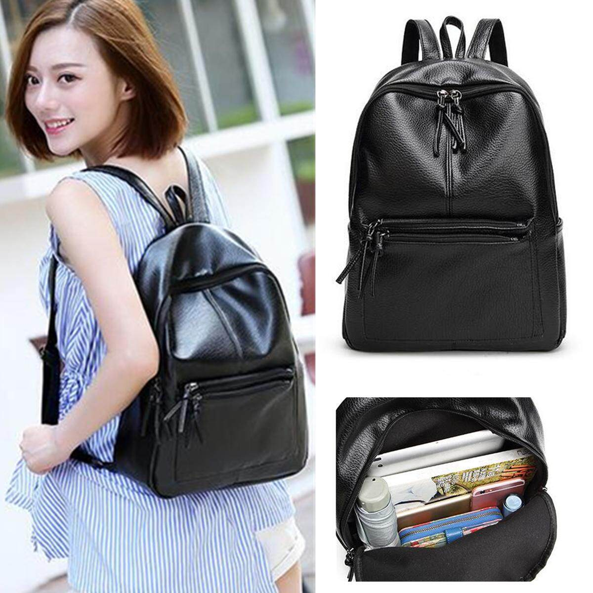 64af125684 Fashion Black PU Leather Women Backpack Casual New Item Travel School Bag