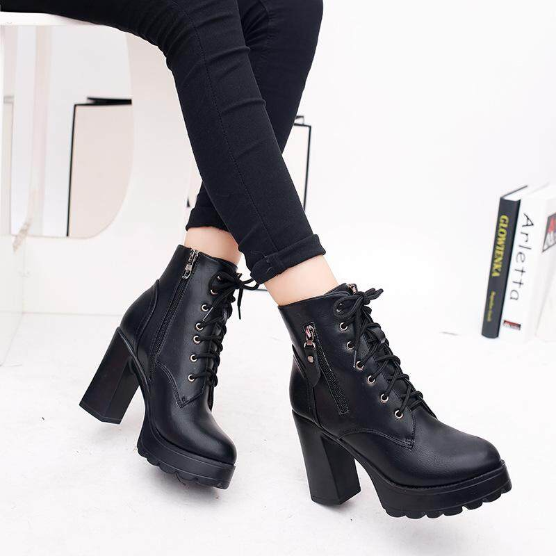 Yta 2018 Womens Platform Chunky High Heel Fur Lace Up Motorcycle Martin Ankle  Boots Shoes Black 08e0e44b16d5