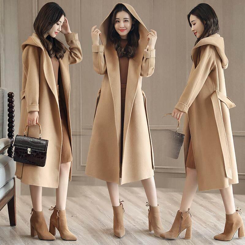 Fashion Women Woolen Coat Solid Color Hooded Coat Korean Long-Sleeved Long Section Windbreaker By Cryatal.