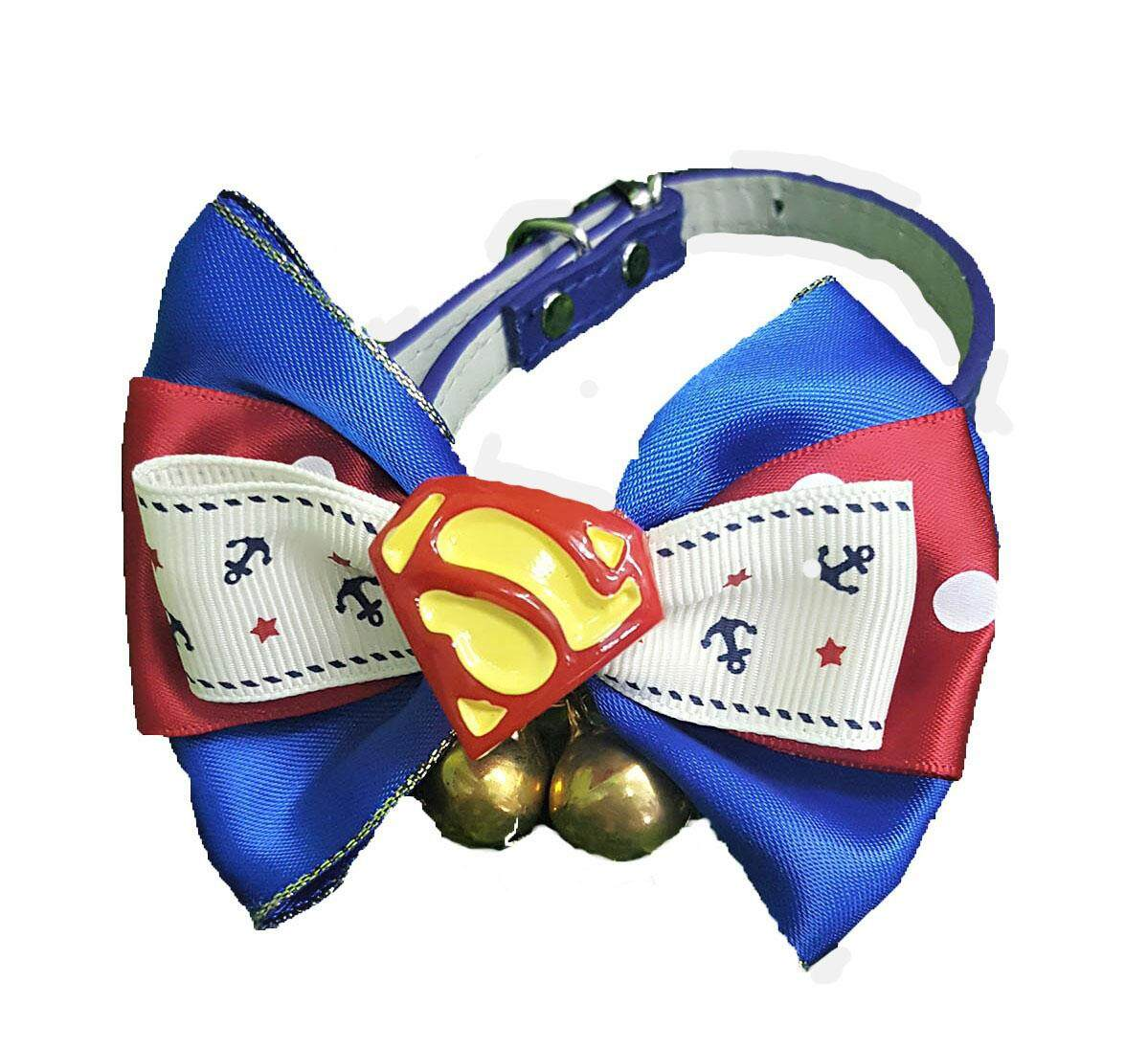 Qq Cat Collar Big Ribbon Bow Tie Superman3 With Big Belle Handmade By Jit Heng Marketing S/b.