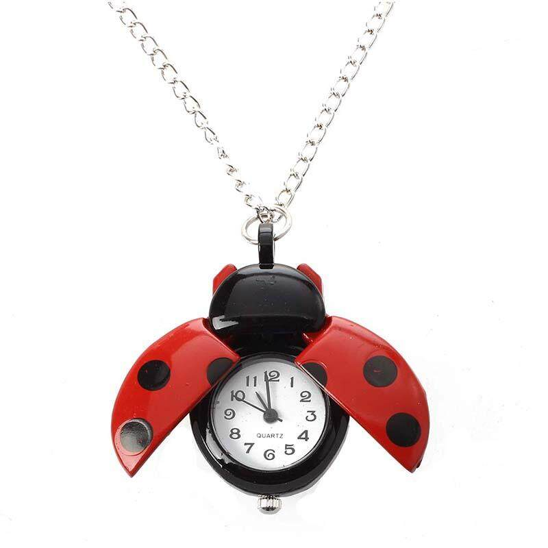 Red Ladybug Necklace Pendant Clock Watch HOT Malaysia