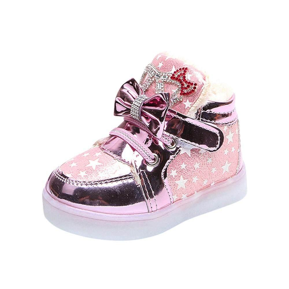 Tideshop Children Kidgirls Star Bowknot Crystal Meshled Light Luminous Sneakers Shoes By Tideshop.