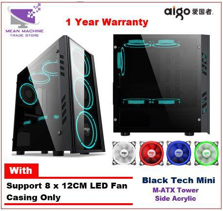 Aigo Black Technology Mini M-ATX Tempered Glass Acrylic Gaming Chassis Malaysia