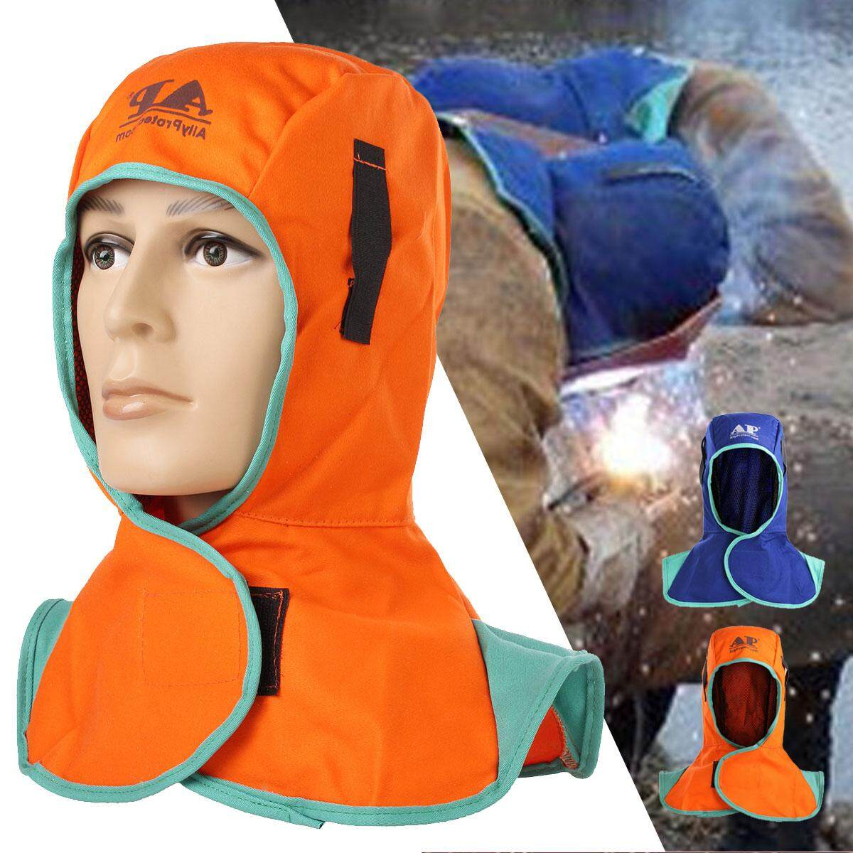 3 x Flame Retardant Safety Helmet Welding Neck Protective Hood Welder Head Cap Cover Orange