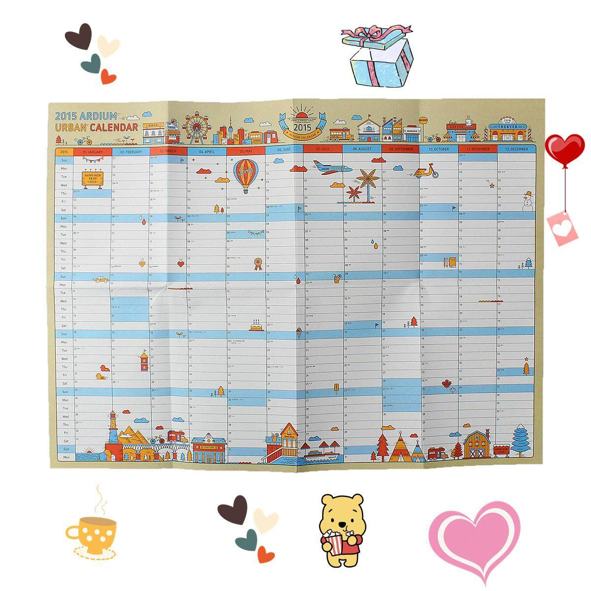 Poster Style Wall Calendar Planner Schedule Journal Agenda Paper Table By Teamtop.