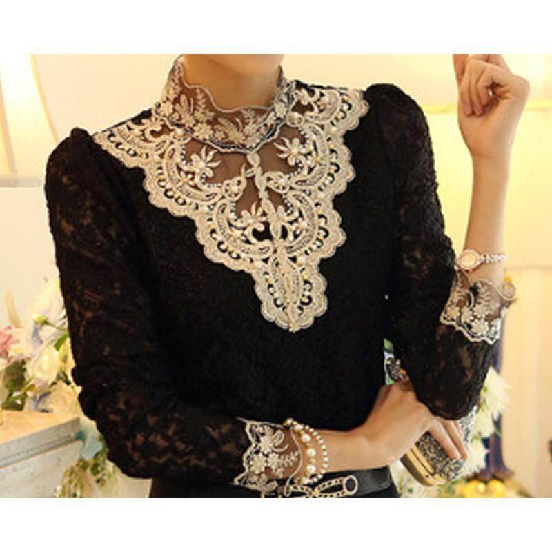 89ef27a922f Korean Fashion Fall and winter Women Lace Shirts Tops Slim Long-sleeved  Female Clothing (