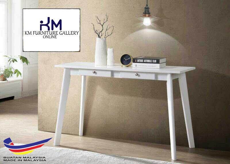 Km Furniture Gallery Console Table With 2 Drawer Hf1240 White