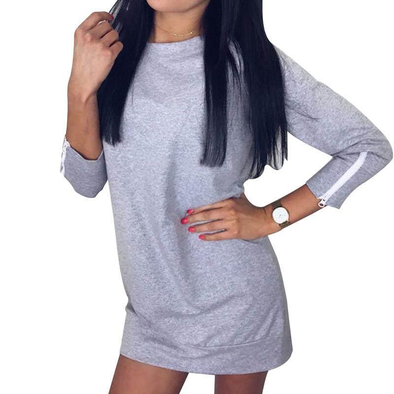 8fba0e6843a Casual Long Sleeve Round Neck Pure Color Hoodie Dress Sexy Mini Zipper  Sweatshirt Dress Long Pullover