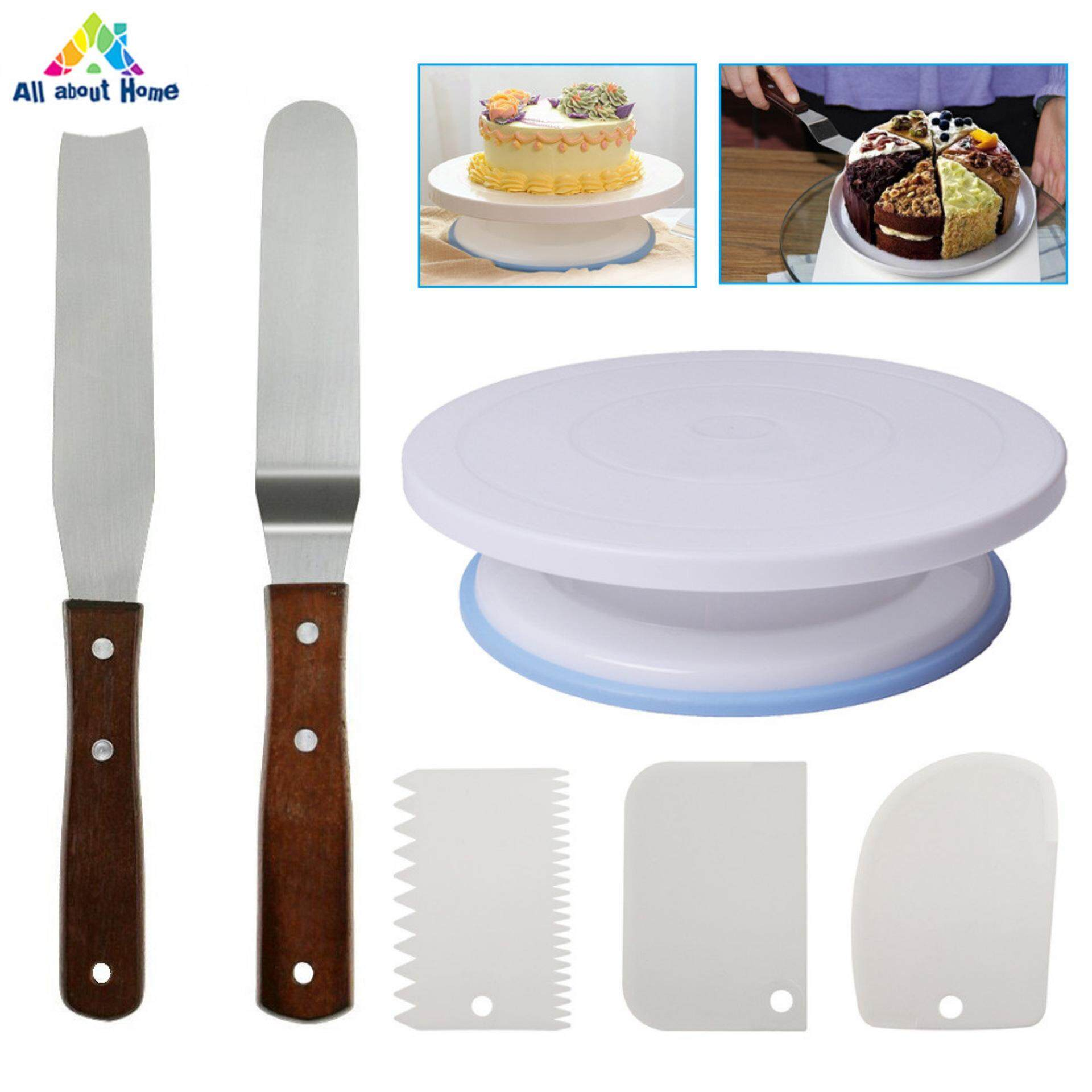 Home Baking Tools Accessories Buy Pisau Set White Swan 1 Turntable Rotating Cake Stand With Smoother Icing Spatula