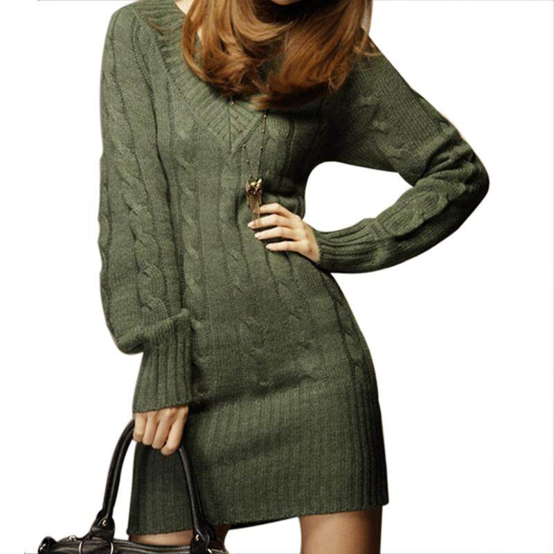 131d78651a NEW WOMENS LONG SLEEVE WARM WINTER KNIT SLIM PLUS SIZE TUNIC SWEATER  DRESS-GREEN