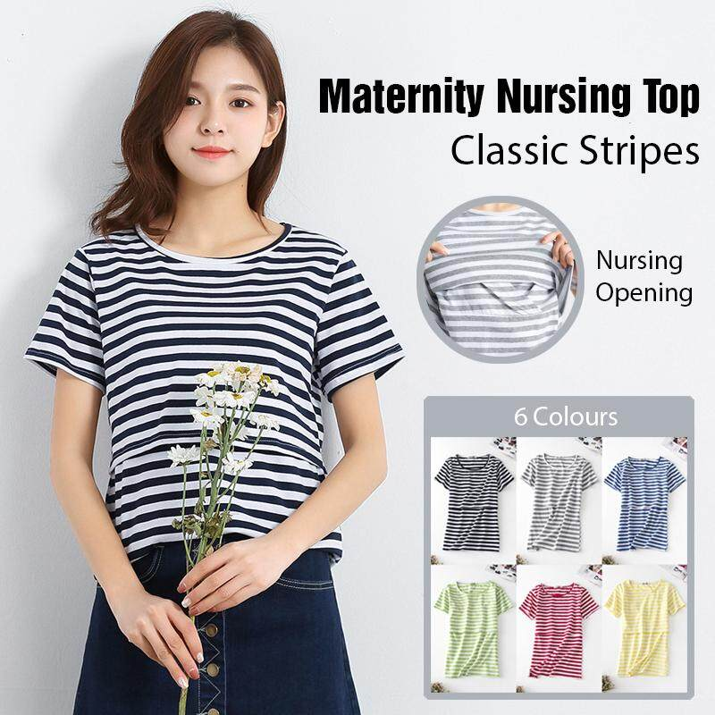 Maternity Nursing Top - Classic Stripes - Short Sleeve By Kimi Mommy.
