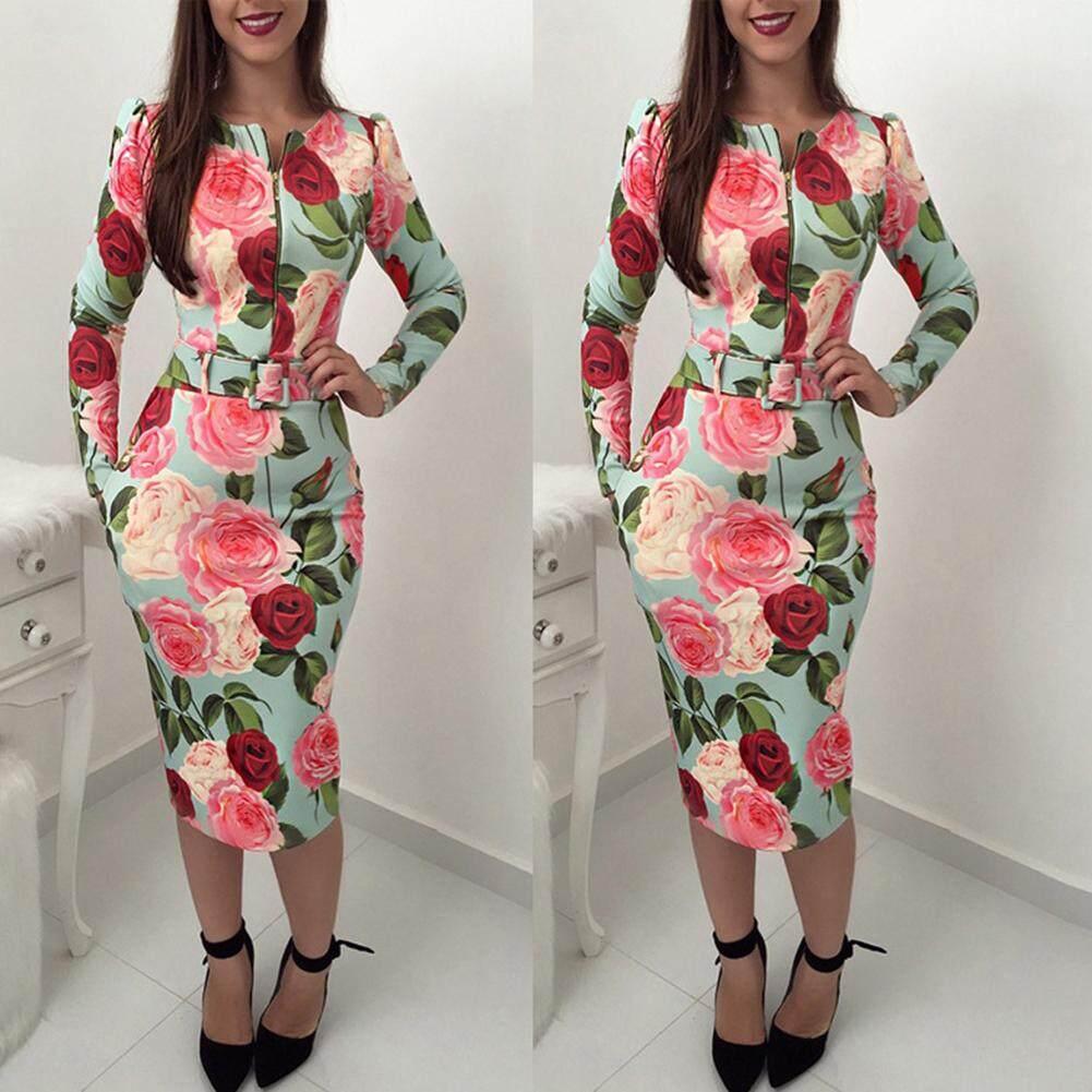 Fashion Rose Flower Print Long Sleeve Zipper Bodycon Women Midi Dress with Belt