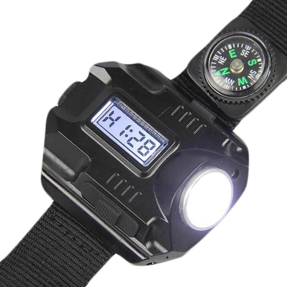 Sway Rechargeable LED Tactical Flashlight 4-speed Wrist Light Lamp + Watch + Compass