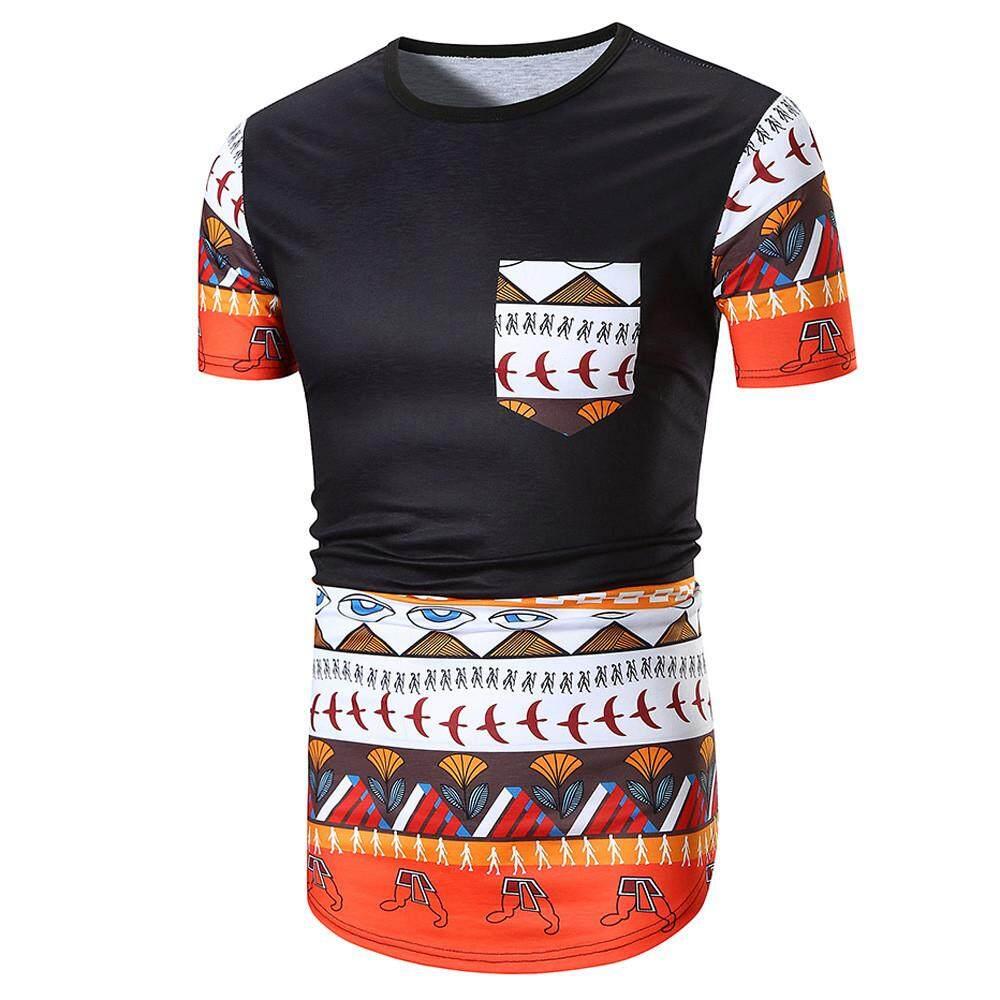 8e478b06bdff nagostore Men Summer Casual African Print O Neck Pullover Short Sleeve T- shirt Top Blouse
