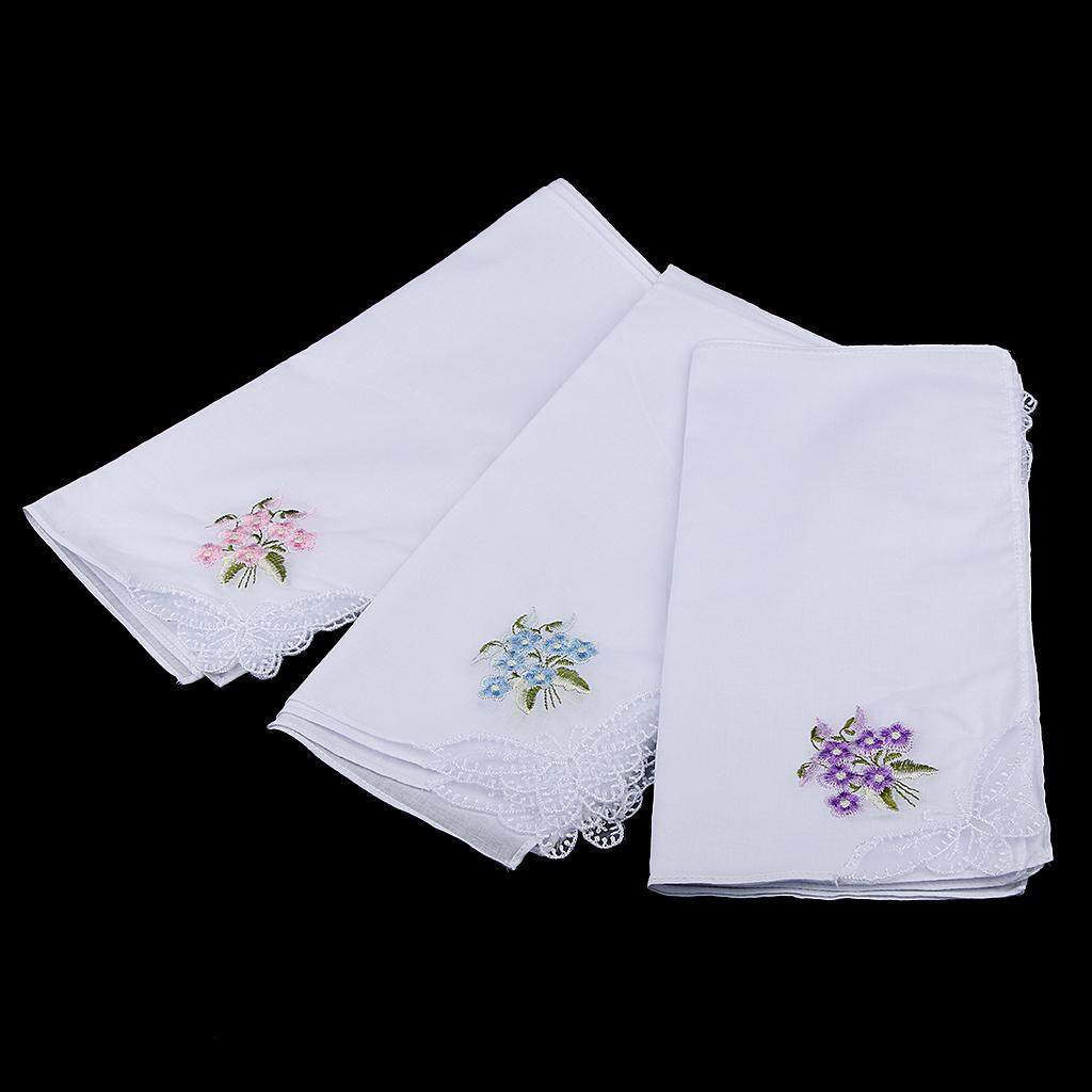 Magideal 12pcs Womens White Flower Embroidery Cotton Lace Handkerchiefs Hanky 2 By Magideal.