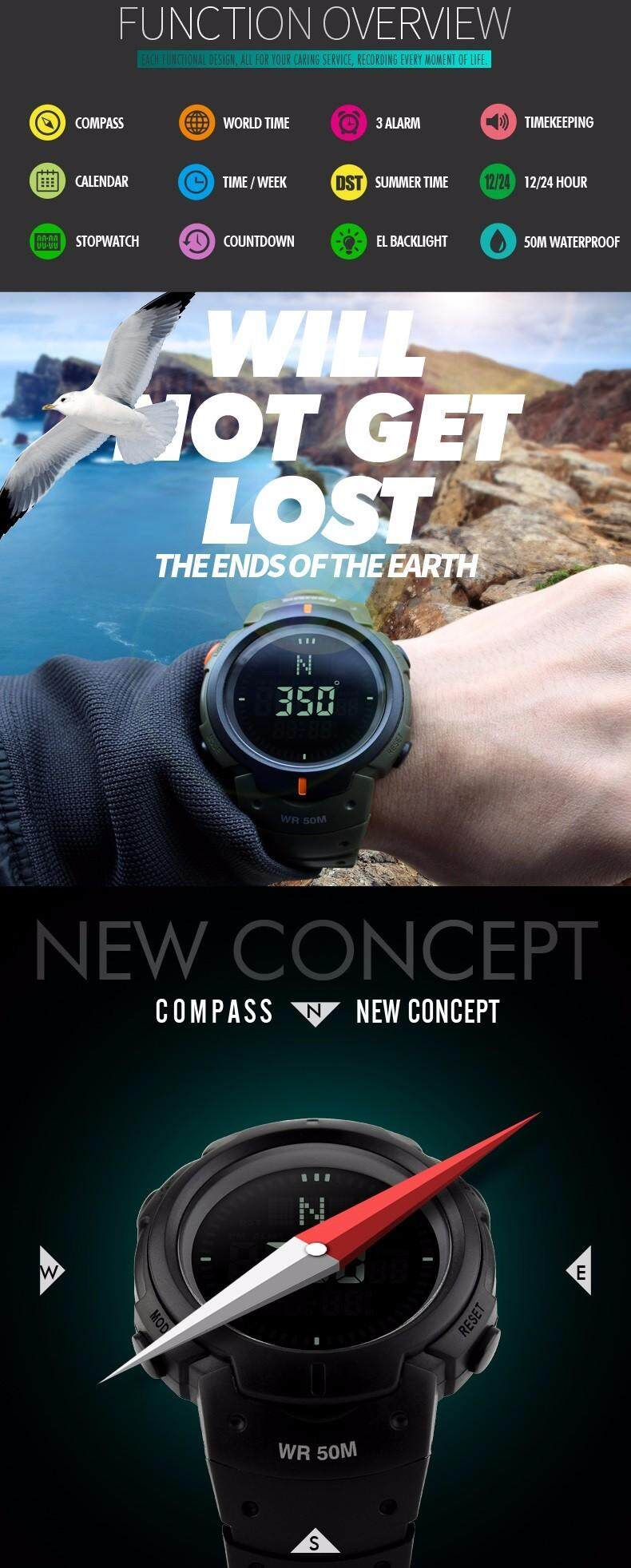 Men's Watches Digital Watches New Brand Outdoor Sports Compass Watches Hiking Men Watch Digital Led Electronic Watch Man Sports Watches Chronograph Men Clock And To Have A Long Life.