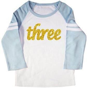 Baru Happy Family Clothing Glitter Gold Three Third Birthday Kids Raglan T Shirt Promosi