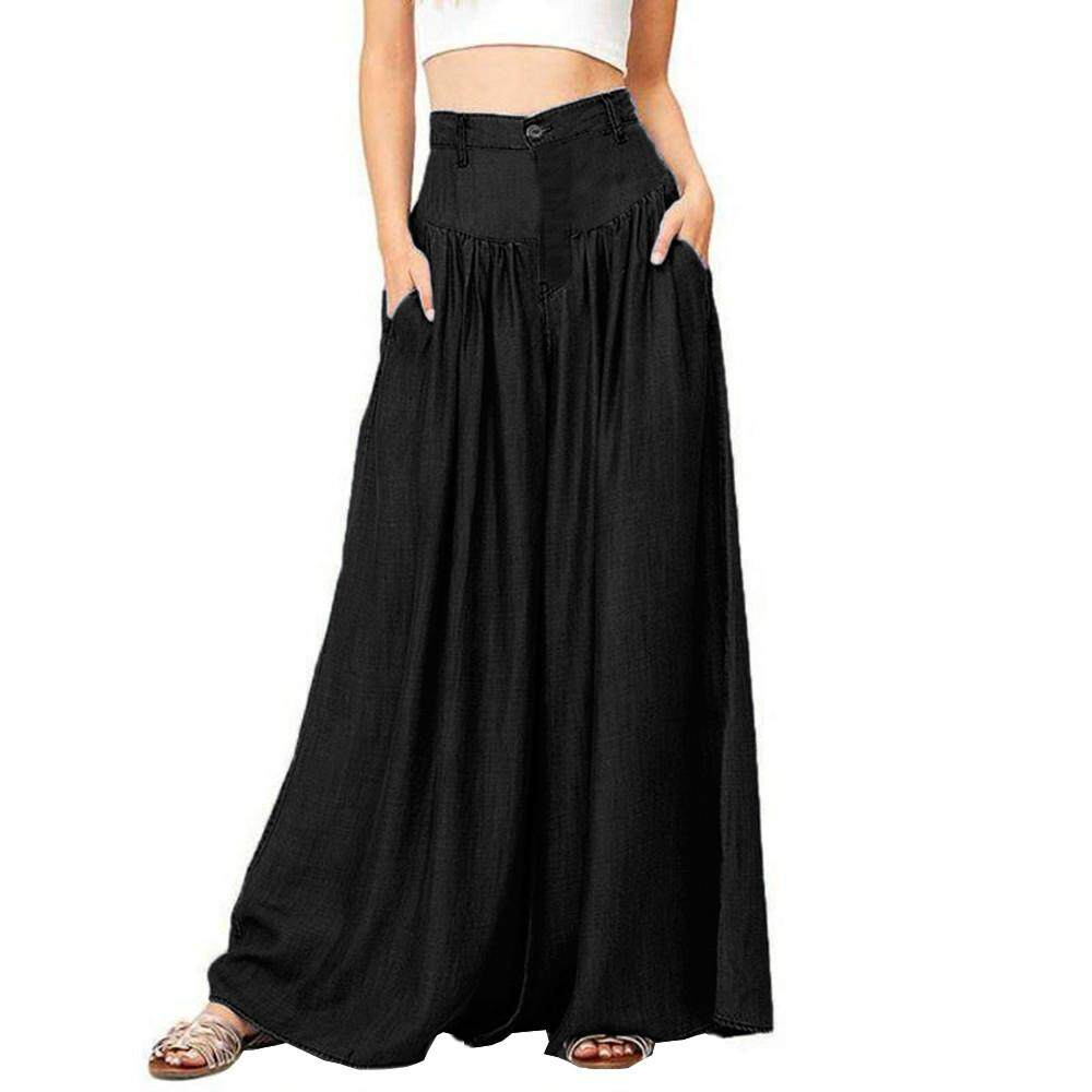 Women Soft Pantalon Wide Legs Long Pants Casual High Waist Trousers Plus BK/5XL