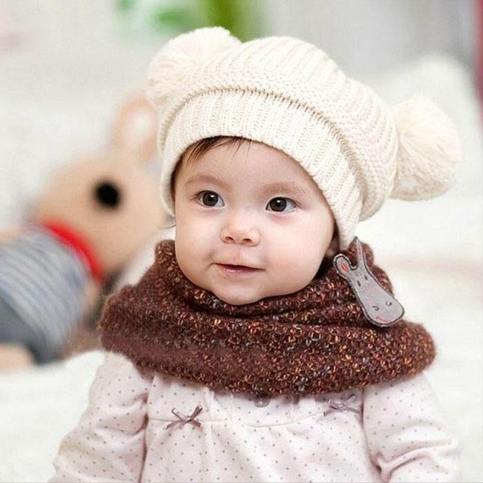 5d78e78c2d1 CocolMax Cute Baby Kids Girl Boy Dual Balls Warm Winter Knitted Cap Hat  Beanie WH