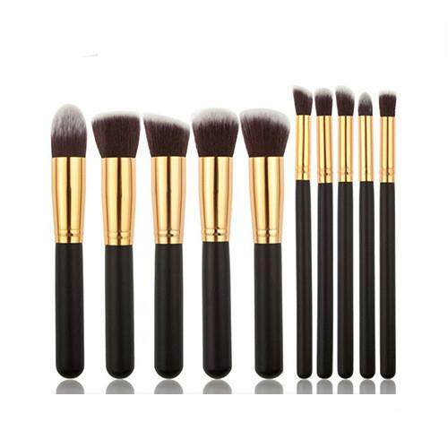 10Pcs Multi Function Mini Makeup Kabuki Brush Set - Black Gold