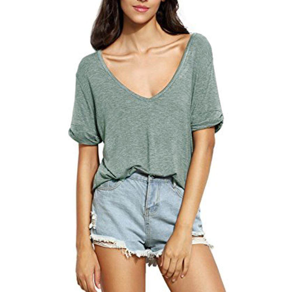 ad600f3f GUO Women's Summer V Neck Short Sleeve Loose Casual Top Tee T-Shirt Blouses