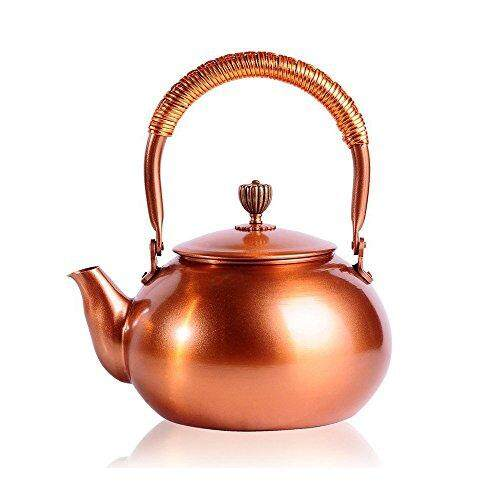 Tea Kettle Chanmol 50 Ounce Bpa Free Red Copper Tea Pot Stove Top Coil Handle ,classic Espresso Coffee Pouring Pot For Home Kitchen,hotel,restaurant And Office,gold, Red Copper By Cross Border.