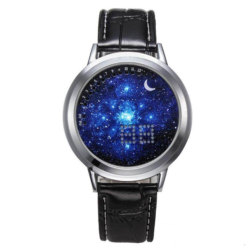 Mens Womens Unisex Leather Watch Ladies Student Multifunction Design Cool LED Digital Sky Star Moon Wrist Watch Touch Screen Malaysia
