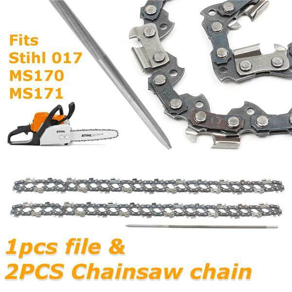 2Pcs Chainsaw Semi Chisel Chain 3/8 0.043 50DL + 1Pc 4mm File for Stihl 017