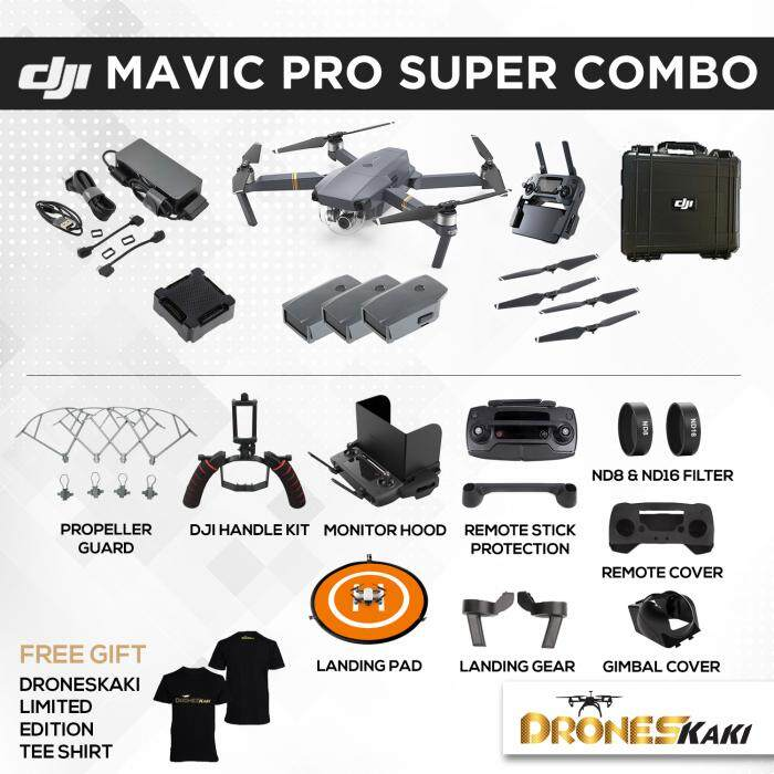 DJI Mavic Pro Super Combo + FREE GIFTS (6 Months Extended Warranty Only At Drones Kaki Online Store worth RM800)