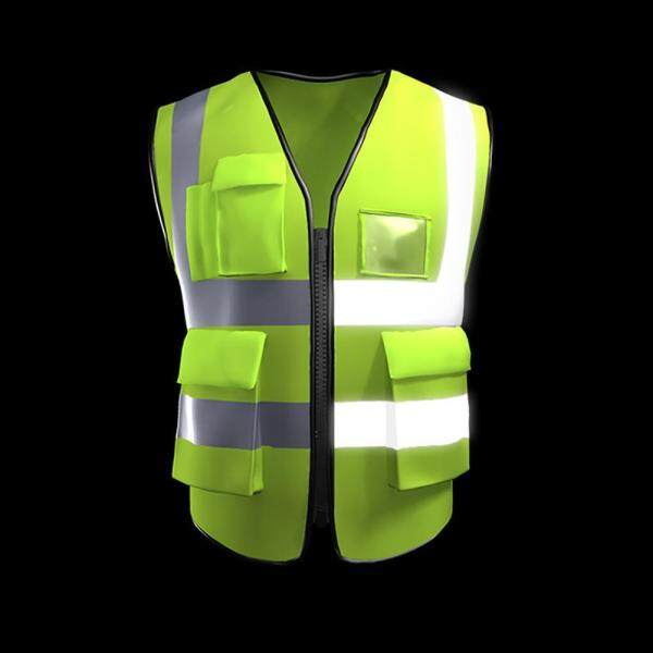 Womdee Multi Pockets High Visibility Zipper Front Breathable Safety Vest With Reflective Strips