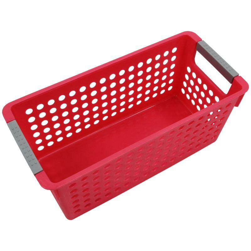 Japanese-Style Stackable Plastic Storage Baskets/bins Organizer Fruit Toys Clothes Glove Box Debris Storage Basket (red)s:29*16*12cm By Lapurer.