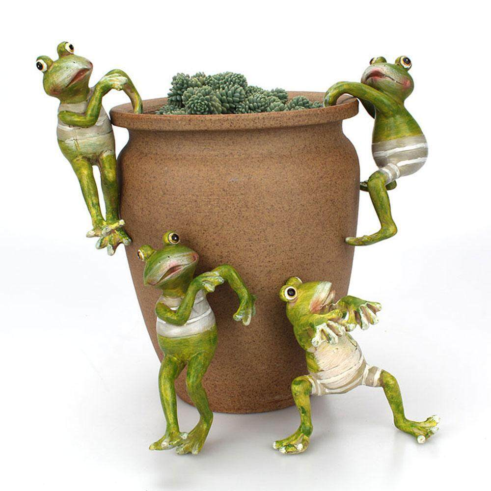 DS-Mart Frog Plant, Cartoon Frog Potted Ornaments, Forest Green Frog Plant Yard Ornaments, Cute Frog Pots Small Flower Pot for Office Desk & Home Garden Pot Decor