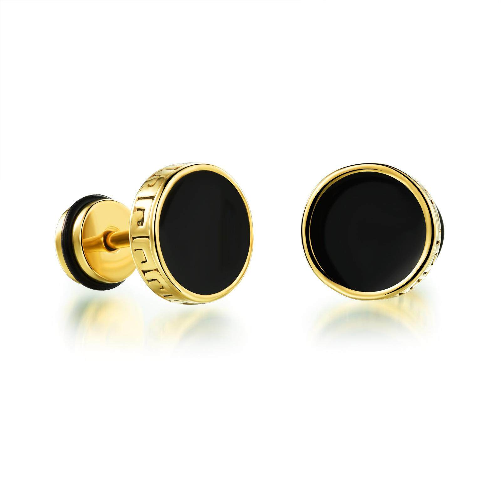 Men Rock Round Pie Retro Black Drop Earrings Male Fashion High Quality Stud Earrings By Xhc.