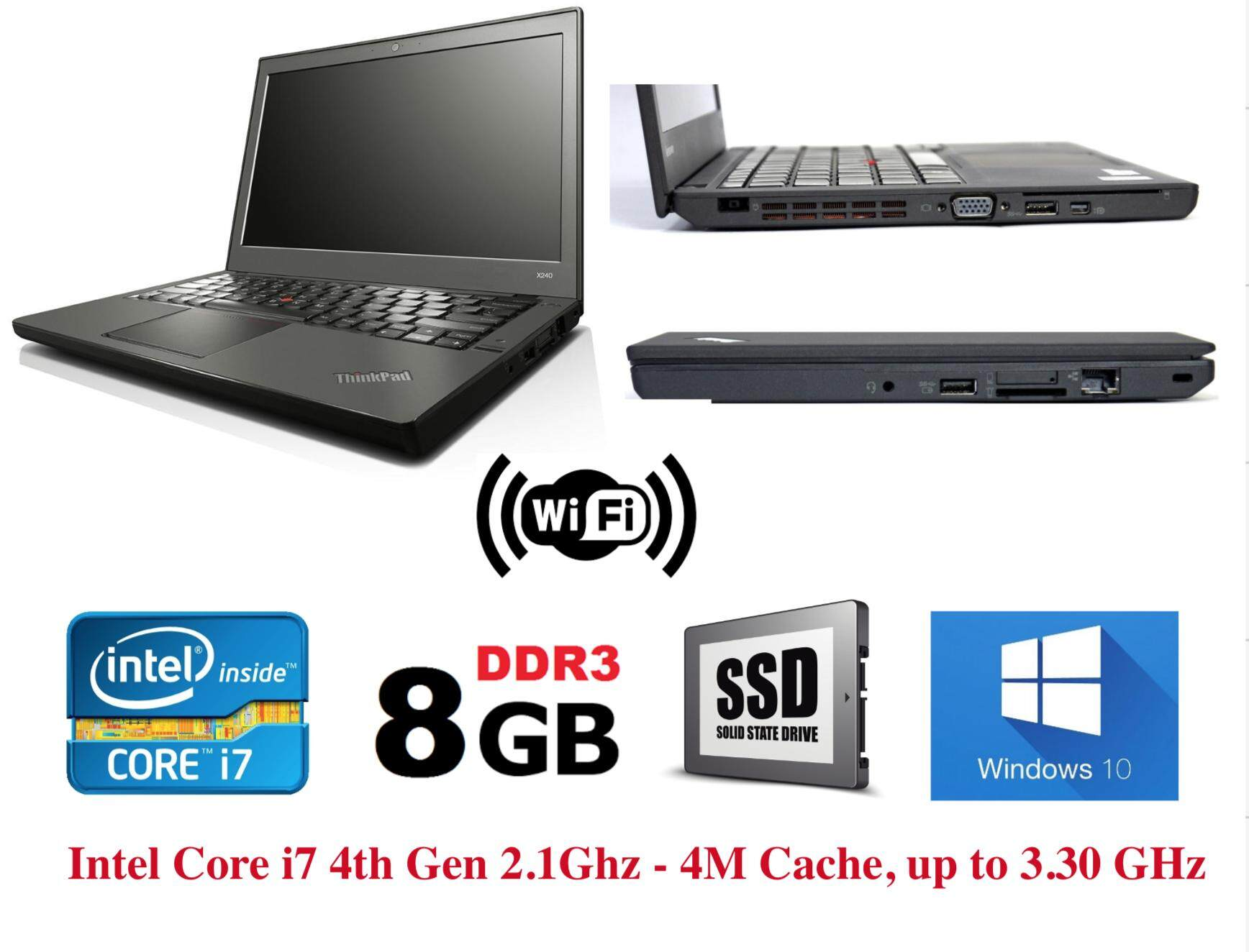 Refurbished Lenovo Thinkpad X240 Ultrabook (i7 4th Gen 2.1Ghz up to 3.30Ghz / 8GB RAM / 240GB SSD / Win7 COA / Win 10 Pro / Bag)  (3 Month Warranty for Laptop & 1 Month Warranty for Battery and Adaptor) Used Laptop Notebook Malaysia