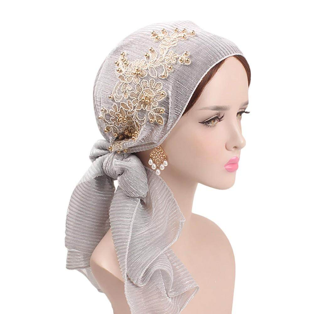 3795bab9cb2 Women Silk Floral Pearl Muslim Hat Stretch Retro Turban Hat Head Scarf Wrap  Cap