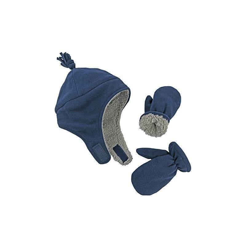 Diskaun N Ice Caps Little Boys and Baby Sherpa Lined Micro Fleece Pilot Hat  Mitten Set  67e92c812779