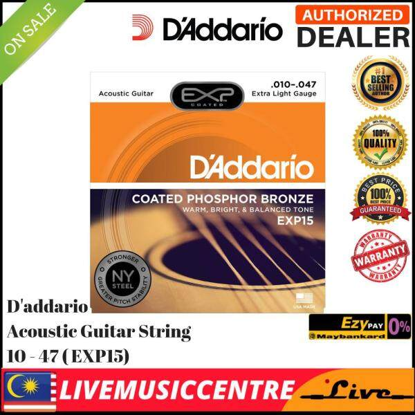 DAddario EXP15 Extra Light Coated Phosphor Bronze Acoustic Guitar Strings (6-String Set, 10-47) Malaysia