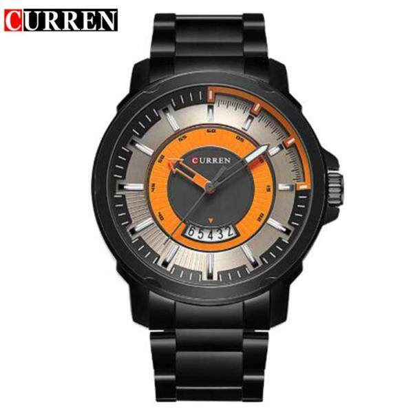 Curren 8229 Men Contra Dial Silver / Black Stainless Steel Strap Analog Watch with Date Malaysia