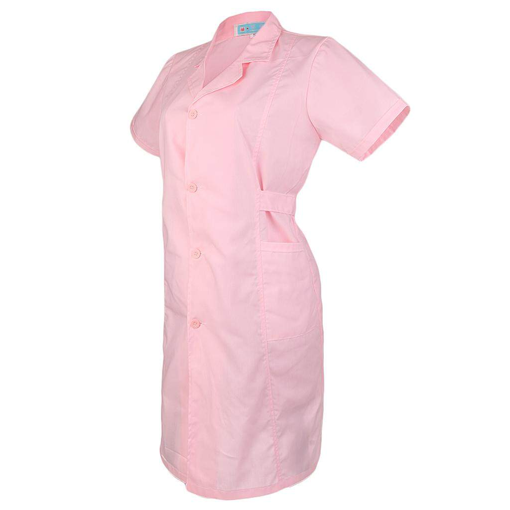 Miracle Shining Women White Scrubs Lab Coat Medical Nurse Doctor Uniform Lapel Neck S Short Sleeve-Pink
