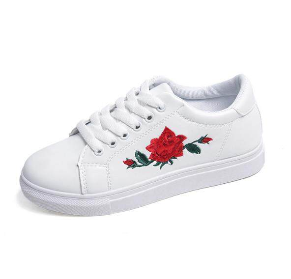 New Womens Shoes With Shallow Embroidered Flat Womens White Shoes By The Four Seasons Fashion.