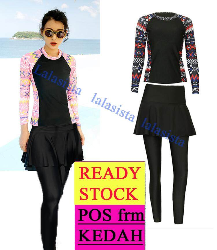 651c4f39036 Modern modest muslimah swimming suit normal to plus size 2 pieces set  graphic printed long sleeve