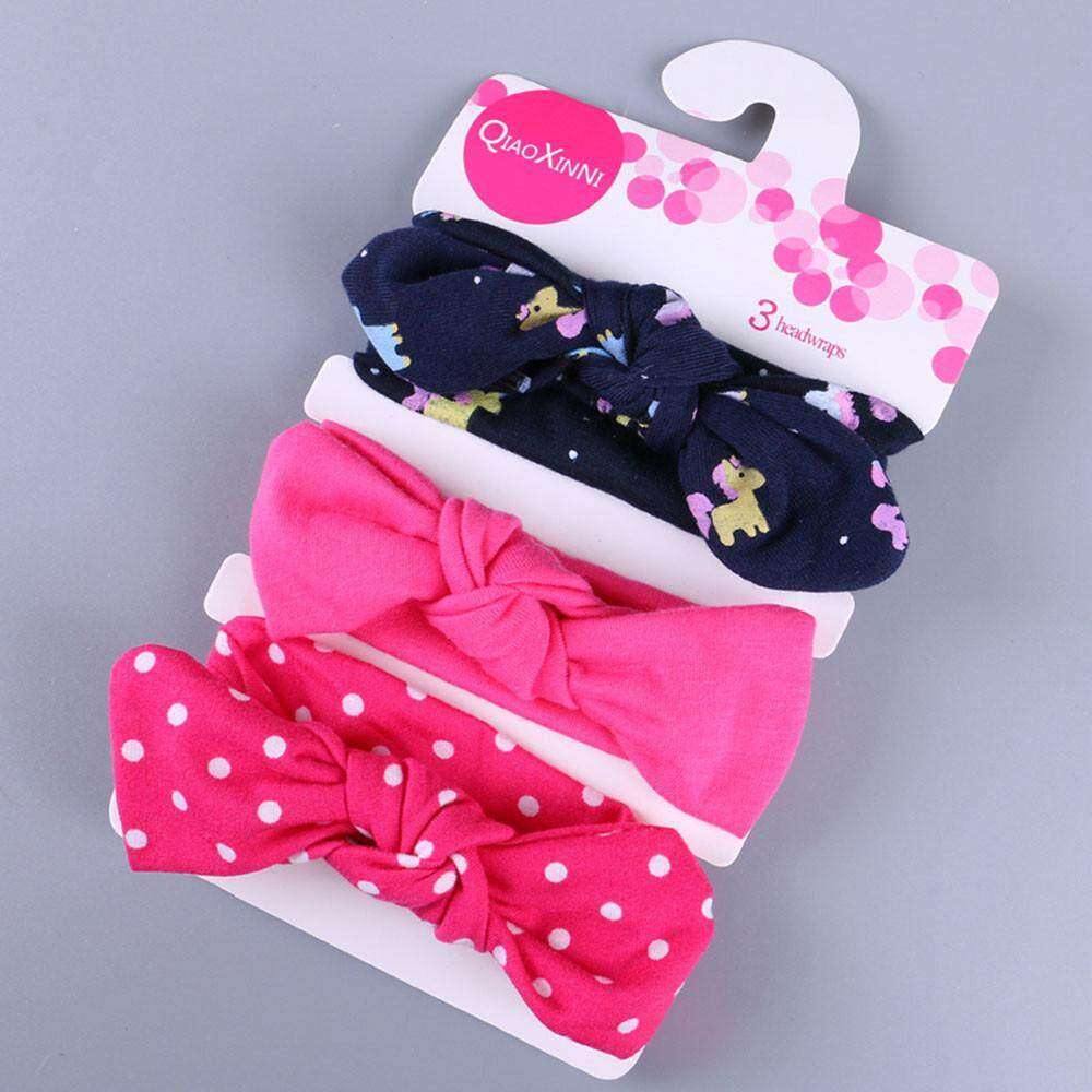 3pcs Kids Floral Headband Girls Baby Elastic Bowknot Accessories Hairband Set By Questre.