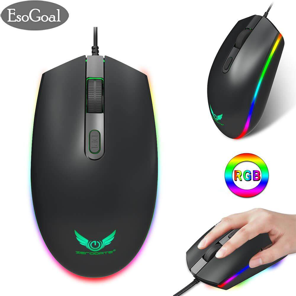 EsoGoal RGB Gaming Mouse Wired LED Mice,Breathing Backlit Optical USB Mouse with 1600 DPI Programmable PC Computer Laptop Mouse for PC & Mac Gamers (Black) Malaysia