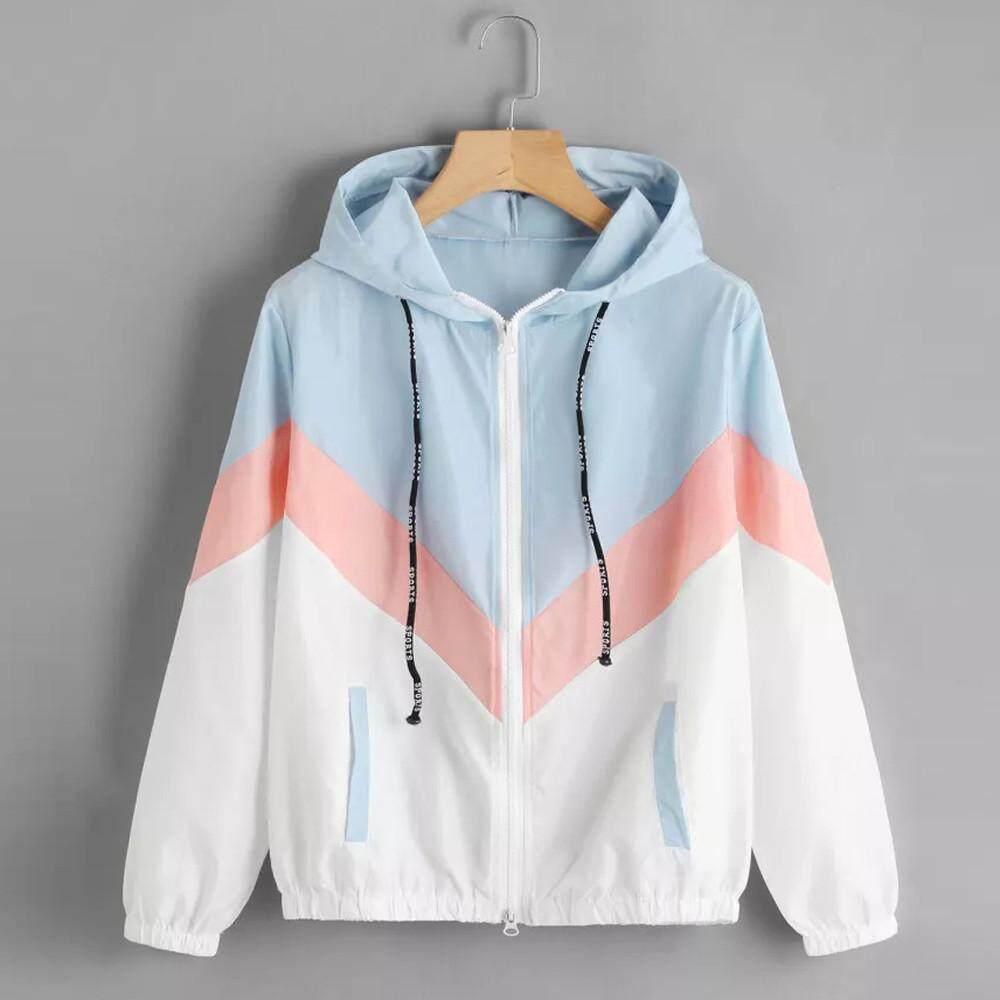 Guo Women Long Sleeve Patchwork Thin Skinsuits Hooded Zipper Casual Sport Coat By Hongshouguostore.