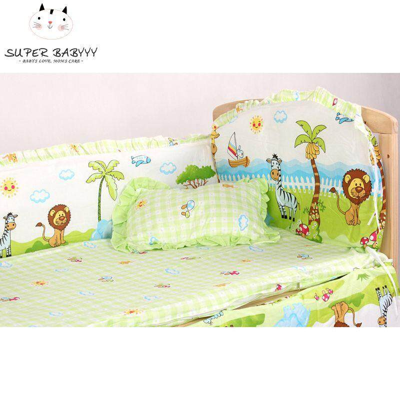 Cute Cartoon Cotton Baby Bumper Bed Crib Bumper For Baby Crib Protector Of Baby Cribs For Newborns Bedding Bumpers 4 Pcs /set High Quality Goods Bumpers