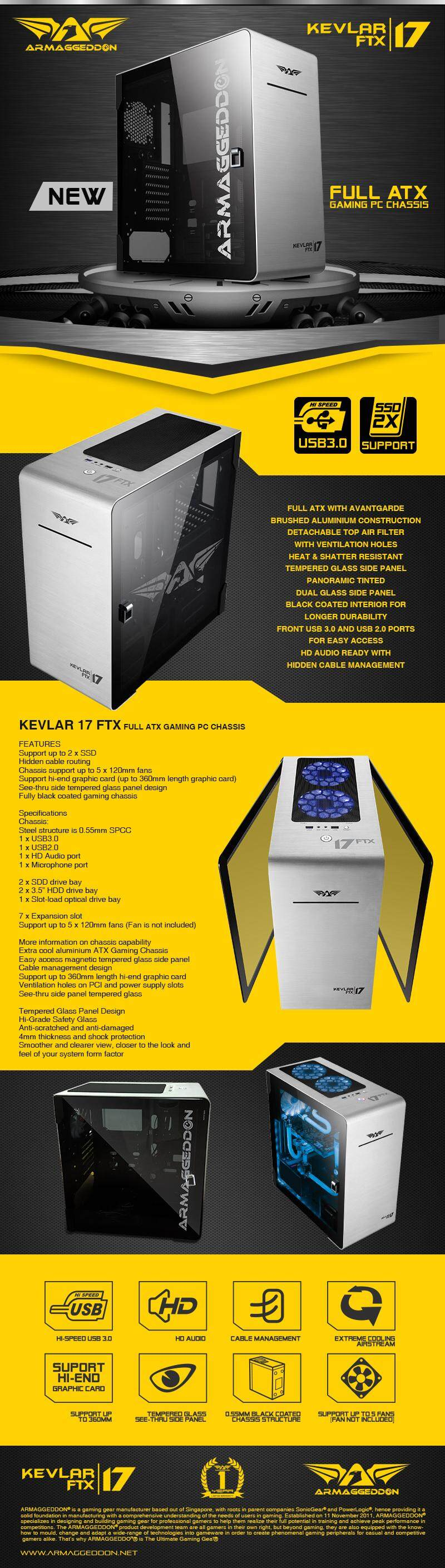 Armaggeddon Kevlar 17 FTX Full ATX Gaming PC Case with Tempered Glass Panel  Free Fan (x5)