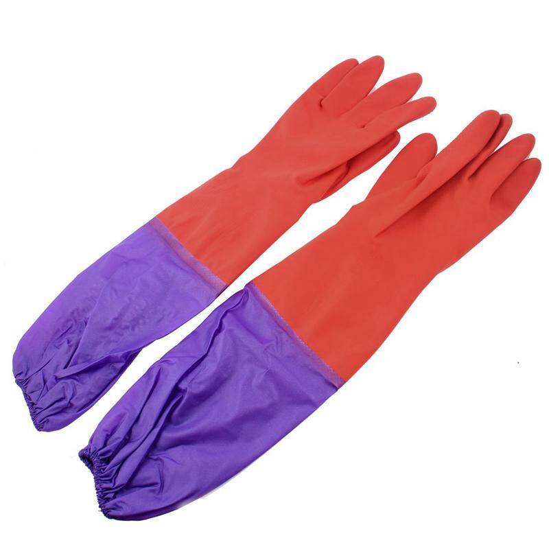 Elastic Purple needle 18.9 Length Red Full Finger Rubber Gloves
